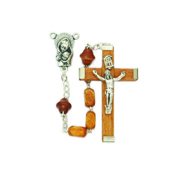 Square Light Wood Bead Rosary