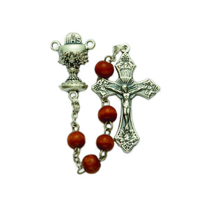5MM Brown Wooden Bead First Communion Rosary