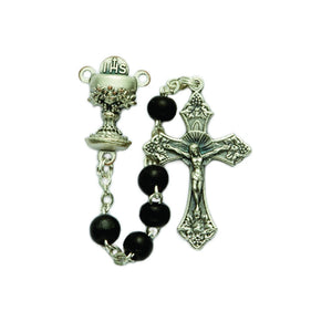 Black Wood First Communion Rosary