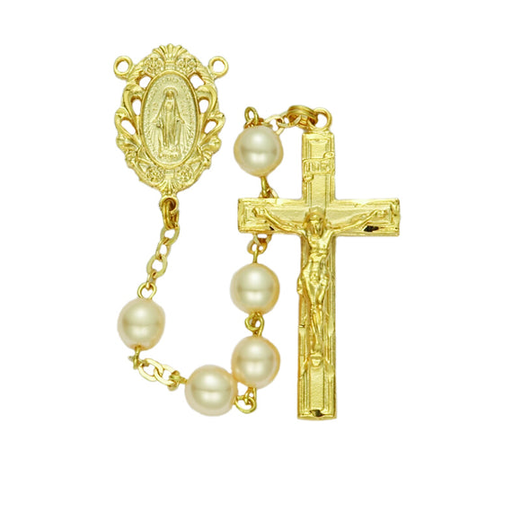 Gold Plated Pearl Rosary