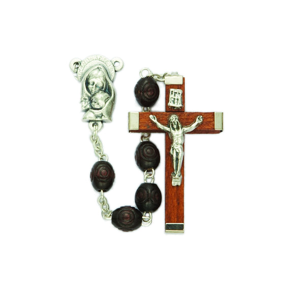 Rosewood Carved Wood Bead Rosary