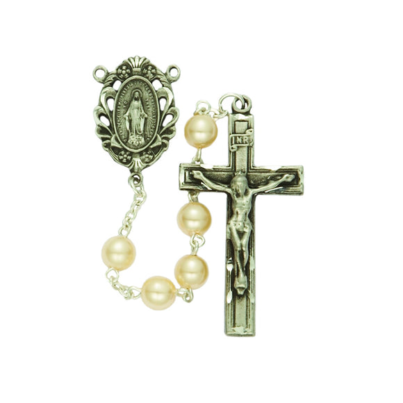 Capped Pearl Bead Rosary