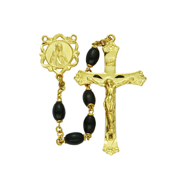 Black Glass Bead Rosary-Gold
