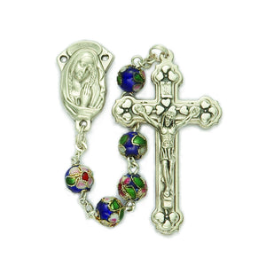 8MM Cloisonne Blue Rosary
