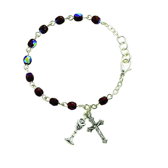 January Birthstone First Communion Rosary Bracelet