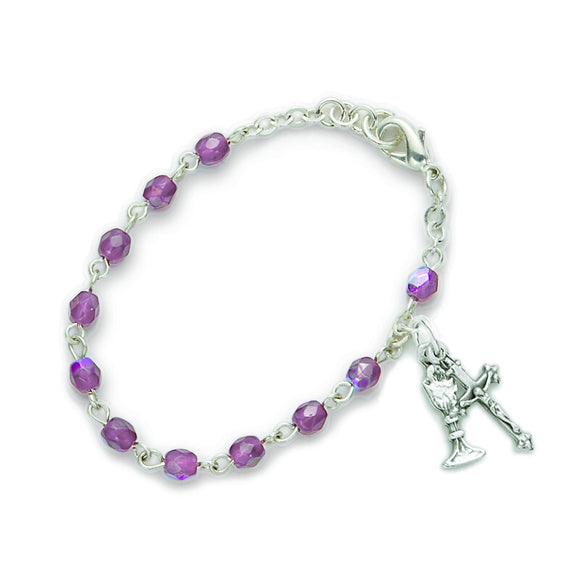 February Birthstone First Communion Rosary Bracelet