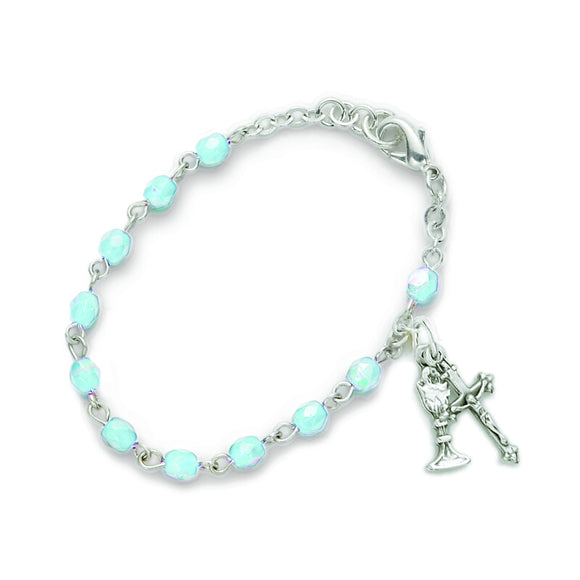 March Birthstone First Communion Rosary Bracelet