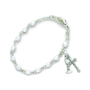 April Birthstone First Communion Rosary Bracelet