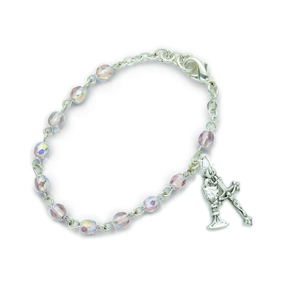 June Birthstone First Communion Rosary Bracelet