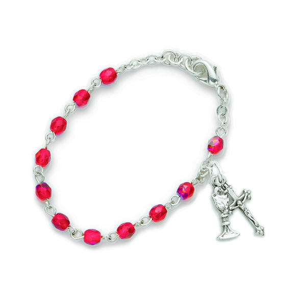 July Birthstone First Communion Rosary Bracelet