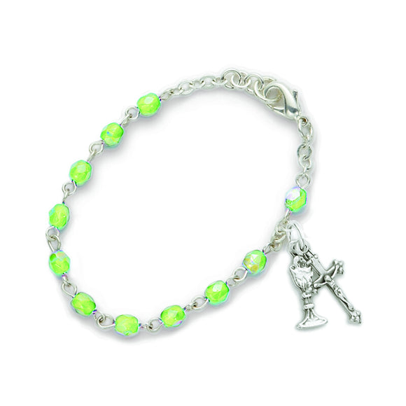 August Birthstone First Communion Rosary Bracelet