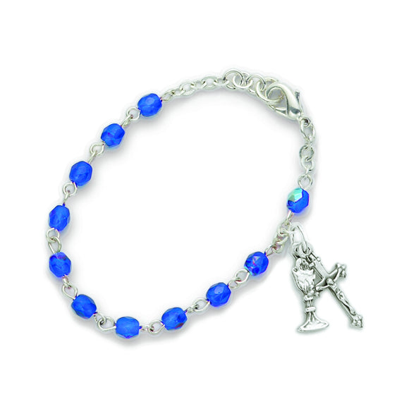 September Birthstone First Communion Rosary Bracelet