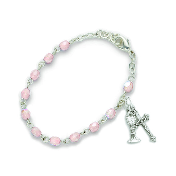 October Birthstone First Communion Rosary Bracelet