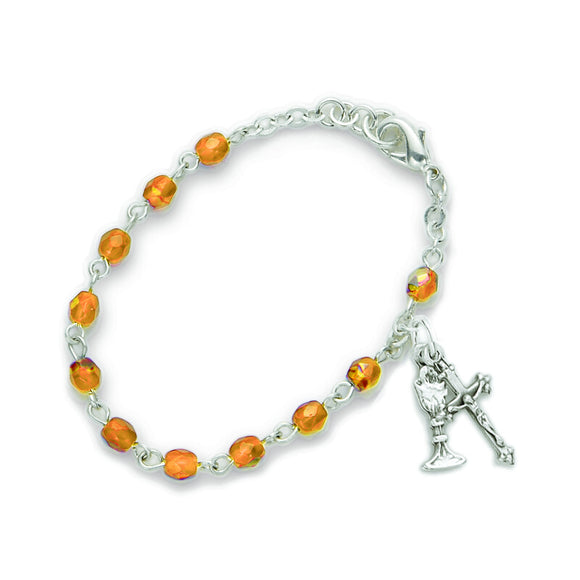 November Birthstone First Communion Rosary Bracelet