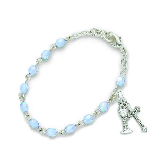 December Birthstone First Communion Rosary Bracelet