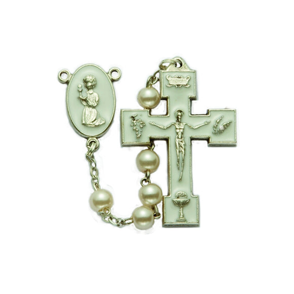White Enamel Pearl Communion Rosary