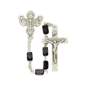 Square Black Wooden Bead Rosary
