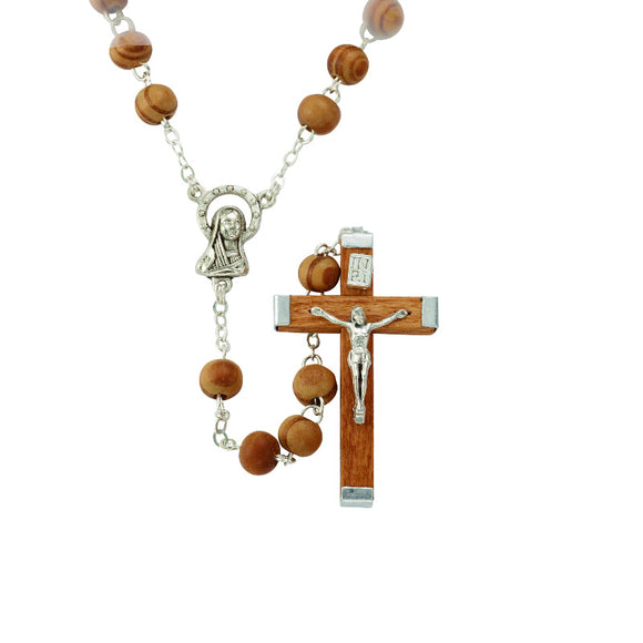 Light Brown Wood Bead Rosary