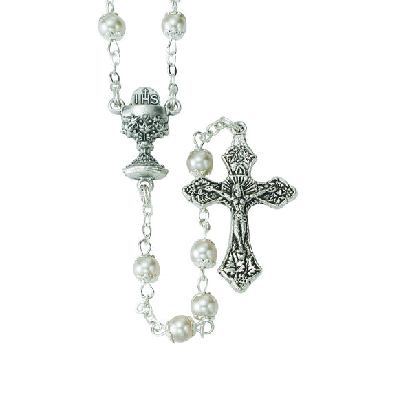 5MM Pearl Capped First Communion Rosary