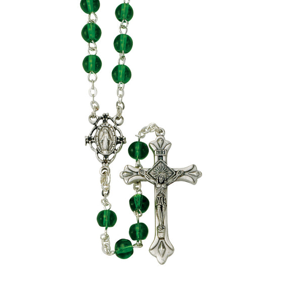 Green Glass Bead Rosary