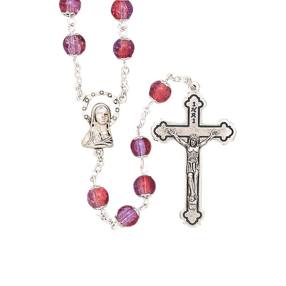 Round Capped Pink Glass Rosary