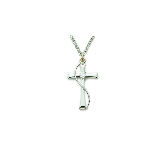 Sterling Silver Cross with Cubic Zirconia