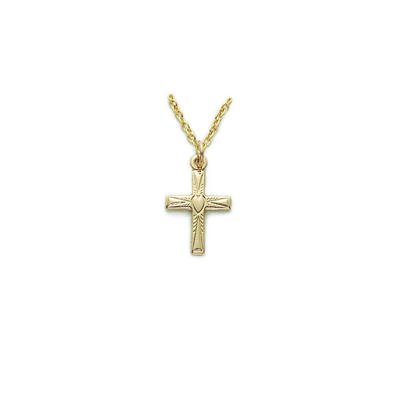 14K Gold Filled Cross with Heart Design