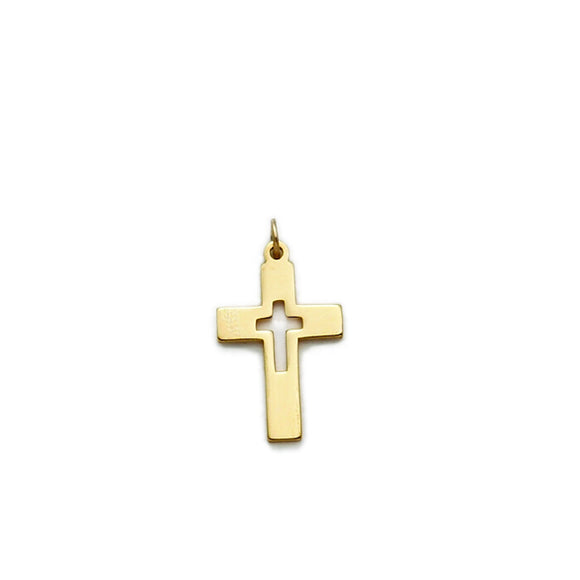 14K Gold Filled Cut Out Cross