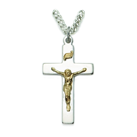 Sterling Silver Men's 2-Tone Crucifix