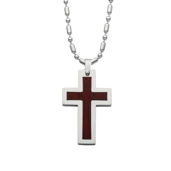 Wood & Stainless Steel Cross