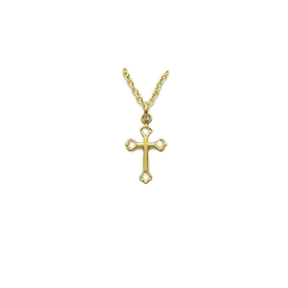 Small Open Heart Cross in Gold