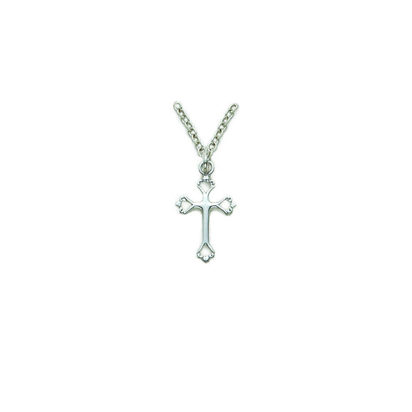 Small Open Heart Cross in Silver