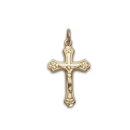 Gold Budded End Crucifix