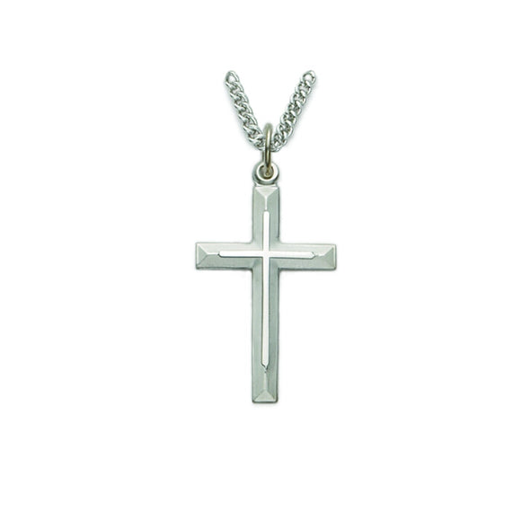Silver Beveled Cross