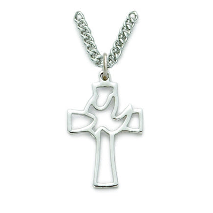 Sterling Silver Descending Dove Cross Necklace
