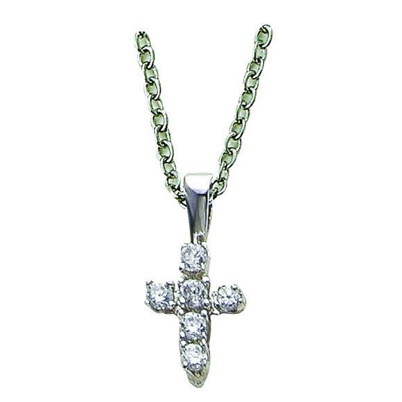 Sterling Silver Crystal Cubic Zirconia Cross