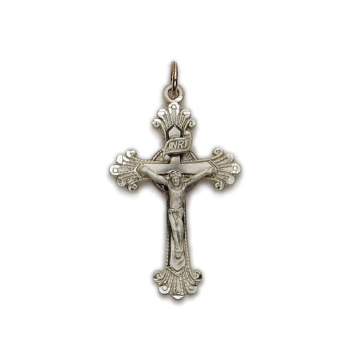 Sterling Silver Budded Engraved End Crucifix