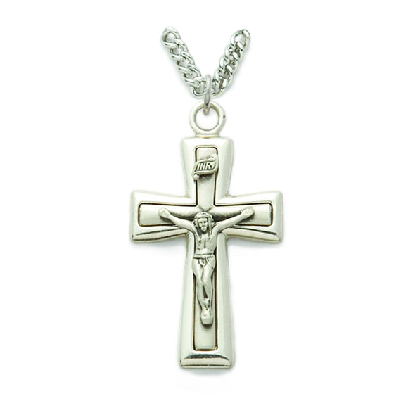 Sterling Silver Bevel Crucifix