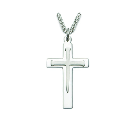 Silver Nail Engraved Cross