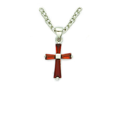 January Sterling Silver Baby Birthstone Cross