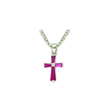 July Sterling Silver Baby Birthstone Cross