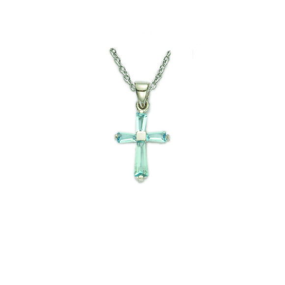 March Birthstone Sterling Silver Cross 16