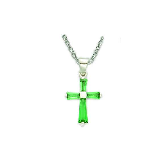 May Birthstone Sterling Silver Cross 16