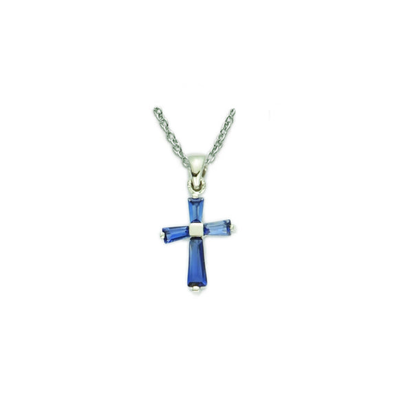 September Birthstone Sterling Silver Cross 16