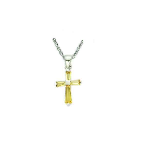 November Birthstone Sterling Silver Cross 16