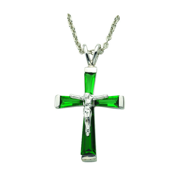 May Birthstone Crucifix Necklace