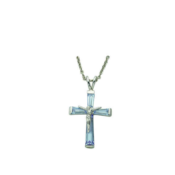 March Birthstone Crucifix Necklace