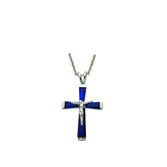 September Birthstone Crucifix Necklace