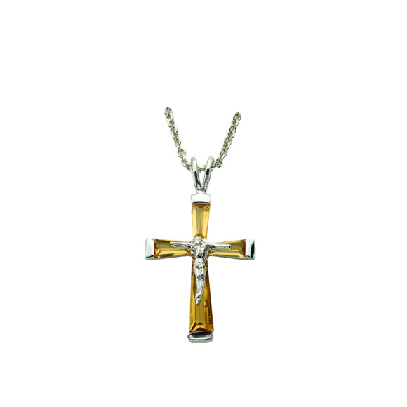 November Birthstone Crucifix Necklace