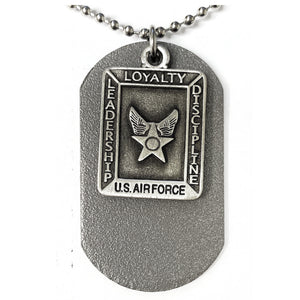 St. Michael Pewter Airforce Dog Tag Necklace